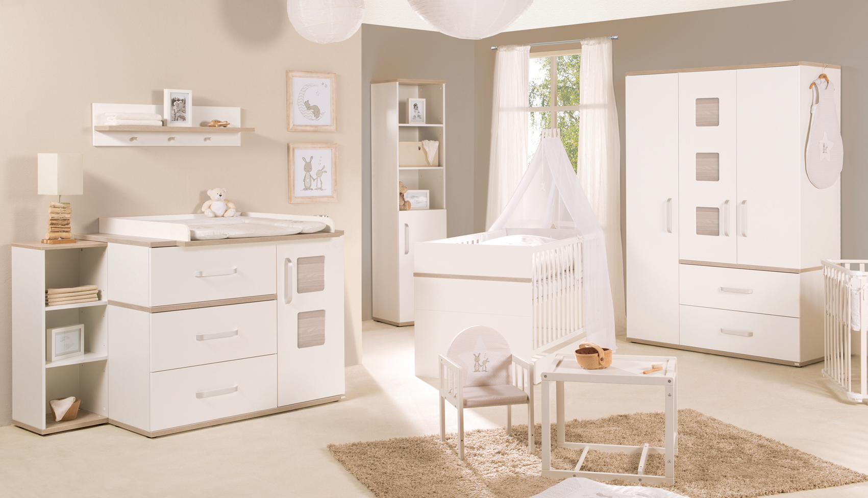 Kinderzimmer moritz baby bett wickelkommode und 3 trg. schrank 100391